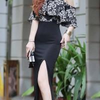 long dress model elegant motif batik style impor