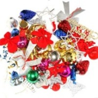 accessories dekorasi hiasan pohon natal set ornamen bola kado pita