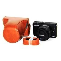 Rajawali Leather Case For Canon Eos M10 Kit 15-45mm - Brown/Cokelat
