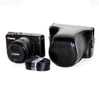 Rajawali Leather Case For Canon Eos M100 Kit 15-45mm - HITAM