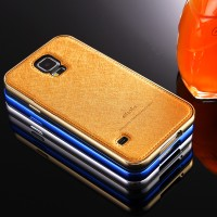 SAMSUNG S4 ALUMUNIUM BUMPER SLIDING with LEATHER BACK COVER HARD CASE