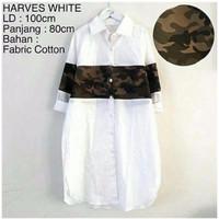 Herves White (Op0410) / Atasan Kemeja Wanita Lengan Panjang Army