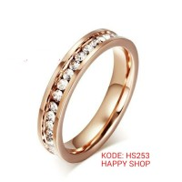 Jual cincin single wanita rose gold full permata Hs253,titanium anti pudar Murah