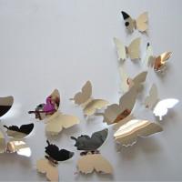 Jual Hiasan dinding 3D kupu kupu mirror butterfly wall stiker Murah