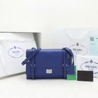 Tas Wanita Import Prada Selempang Lux Calf Leather Flap Biru ORi +BOX