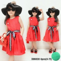 baju import  red dress  katun anak