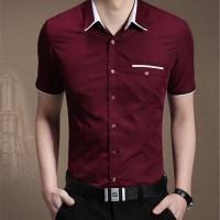 [kemeja winston maroon OT] pakaian pria kemeja lengan pendek maroon