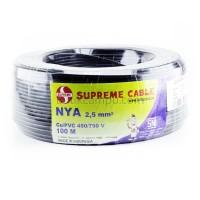 Kabel Listrik Tunggal 2.5mm Supreme NYA Hitam (Roll 100M)