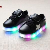 Sepatu LED BLACK (Sepatu keren dengan lampu LED warna warni)