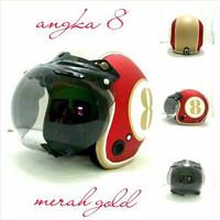 Helm Bogo Retro Sni Semi Kulit Angka 8 Merah Gold