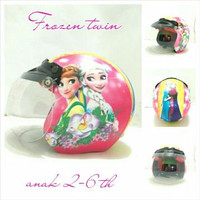 Helm Bogo Retro Anak 2-6 Th Motif Frozen Twin Pink + Kaca Cembung