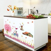 Romantic Cherry Fence SK9008 - Stiker Dinding / Wall Sticker (60x90)
