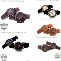 JAM TANGAN PASANGAN COUPLE ALBA LEATHER FULL BLACK KW