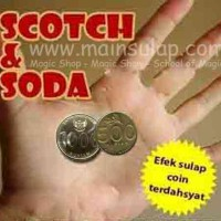 Gimmick Alat Sulap Koin Scotch and Soda 1000 & 500 Coin Magic Trick