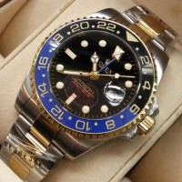 ROLEX GMT MASTER II Silver Rose Gold Combi Black Automatic