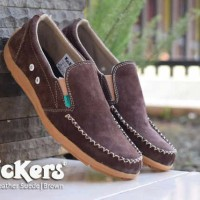 Sepatu Kickers Casual Pria Kickers Slop Kancing Brown Leather Suede