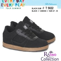 Sepatu Kets Sekolah Laki Perempuan Sneakers Hitam Canvas SD Bertali