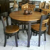 harga Kursi 4 Meja Makan Bundar Minimalis Cafe Resto Kayu Jati Murah Tokopedia.com