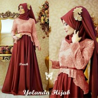 Yolanda Hijab peach Busana Muslim pesta Gamis modern model terbaru