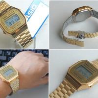 Casio Jam Tangan A168WGA-1ADF Original - wanita - gold emas Digital