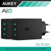 Jual Aukey PA-U35 Wall Charger 3 Port (EU Plug) Murah