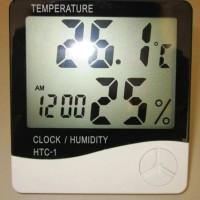 Hygrometer + Jam HTC-1 / HTC1 / HTC 1 Alat ukur temperatur+kelembaban