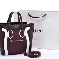 Tas Celine Luggage Micro 3Tone COKLAT TUA HITAM PUTIH Semi Premium AP6