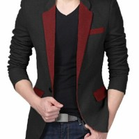 Blazer Cowok Pria Black List Maroon Red Well Korea Slimfit