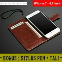 Jual iPhone 7 - Flip Cover Wallet Leather Case Casing dompet kartu Murah