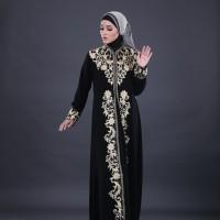 busana muslim wanita gamis hitam elegan branded / gamis syari'i gf