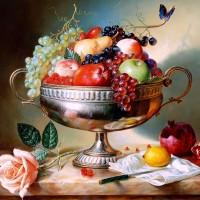 Repro Gambar Lukisan Buah-buahan Fruits Segar Fresh Ruang Makan Dekor