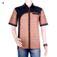 Kemeja Batik Kombinasi Faisal Coklat