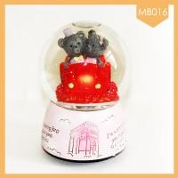Pajangan Snowball Music Box Red Bear Couple Terlaris