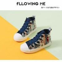 Sepatu walker anak import kets biru motif etnik tali zipper resleting
