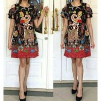 Dress Batik Solo, Dress Trikot Wayang Black