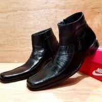 sepatu pria nike pantopel kulit asli black , high , ori handmade