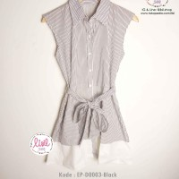 Baju Wanita/atasan dress garis salur hitam/sleeveless ribbon dress
