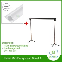 PAKET MINI BACKGROUND STAND - PVC BACKGROUND 60 CM + BACKGROUND STAND