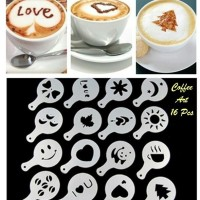 UNIK!!! Coffe art 16 pcs (1set isi 16 pcs dengan gambar berbeda)..