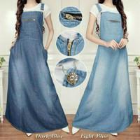harga overall jeans denim rok panjang muslim wanita setelan hijab wearpack Tokopedia.com