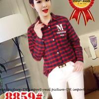 [imp17 hem kotak CR] kemeja wanita flanel pritinting merah