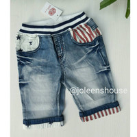 Boys Knee Length Folded Stripes Stars / Celana Jeans Selutut Anak