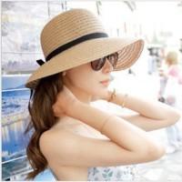 Jual topi lebar / topi pantai / topi wanita / topi pita / bow beach hat Murah