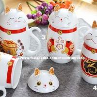 harga Lucky cat gelas / mug / cangkir / kucing keberuntungan / hoki / rejeki Tokopedia.com