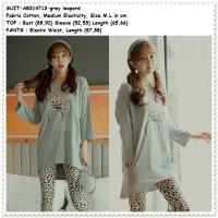 Setelan Baju Celana Tidur Leopard Piyama Wanita Dewasa Korea Import