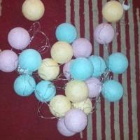 Jual cotton ball light/lampion benang gantung mini dekorasi ruangan Murah