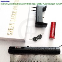 Senter Laser Hijau Green Pointer 16cm 500mw Plus Charger Bateray