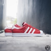 harga Sepatu casual original Adidas Superstar Leather Red/White Tokopedia.com
