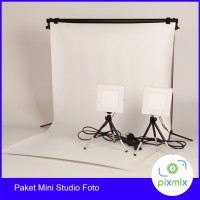 PAKET KOMPLIT MINI STUDIO FOTO - 60 CM BACKGROUND + 6W LAMP + STAND