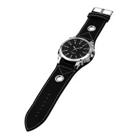 AceWin 626184 Jam Tangan Pria Faux Leather Strap Silver Case Watch